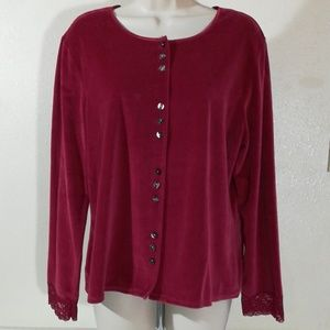 J.Jill Velour Button Down Top with Lace Cuffs